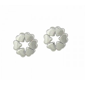 Circle of Heart Silver Stud Earrings