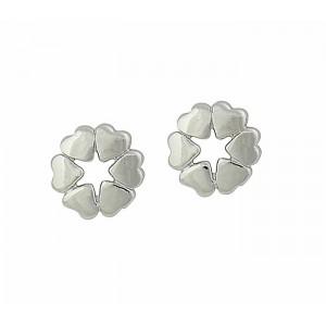 Circle of Heart Silver Stud Earrings