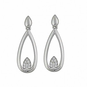 Open Teardrop and Cubic Zirconia Silver Earrings