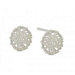 Embroidered Circle Silver Stud Earrings