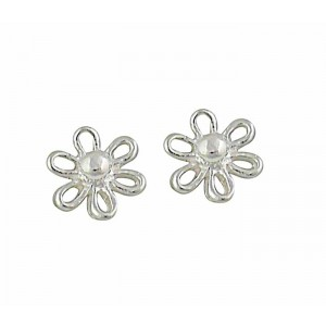 Open Flower Silver Stud Earrings