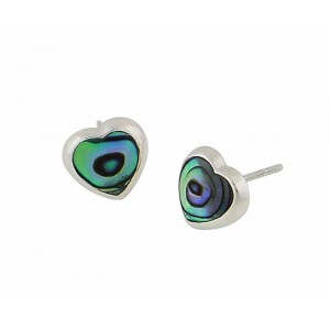 Abalone and Silver Heart Stud Earrings