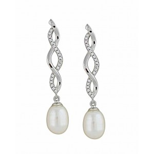 Cubic Zirconia and Plain Twist Freshwater Pearl Silver Earrings