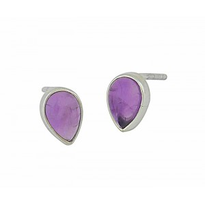 Amethyst Teardrop Small Silver Stud Earrings 8mm