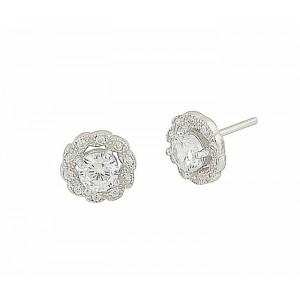 Cubic Zirconia Set Silver Flower Stud Earrings