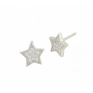 Silver Star Earrings - 8mm