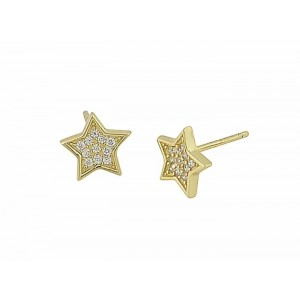 Gold Plated Silver Star Earrings - 8mm