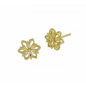 Gold Plated Silver Flower Stud Earrings