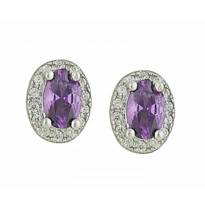 Oval Amethyst and Cubic Zirconia Silver Earrings