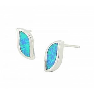 Blue Wave Opal Stud Earrings