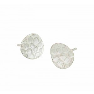 Hammered Disc Silver Stud Earrings