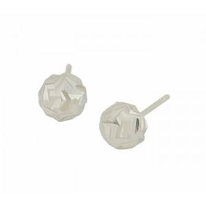 Textured Silver Half Ball Stud Earrings
