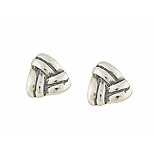 Stripy Triangle Tiny Silver Stud Earrings