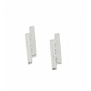 Twin Silver Bar Stud Earrings