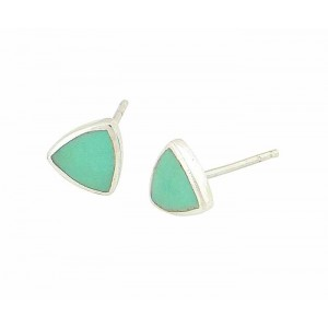 Triangular Silver Turquoise Stud Earrings
