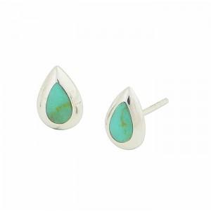 Teardrop Silver Turquoise Stud Earrings