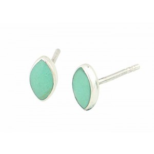 Oval Silver Turquoise Stud Earrings