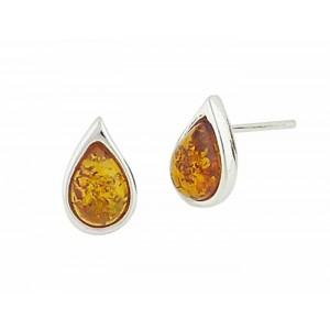 Teardrop Amber Stud Earrings