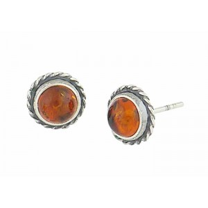 Rope Edge Circle Amber Stud Earrings