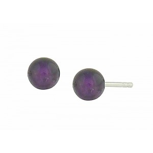 Amethyst Bead Silver Stud Earrings