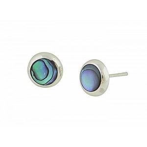 Abalone Polished Silver Stud Earrings