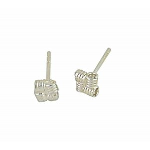 Square Rope Silver Stud Earrings