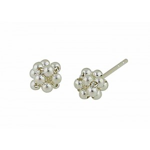 Petite Silver Bead Cluster Earrings