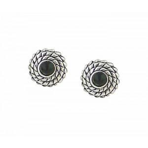 Black Resin Shield Stud Earring