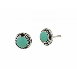 Turquoise Silver Etched Stud Earrings