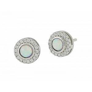 White Opal Twinkle Stud Earrings