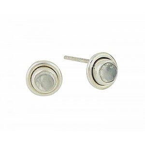 Rainbow Moonstone Small Silver Stud Earrings