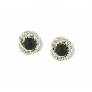 Black Onyx Rope Silver Stud Earrings