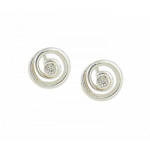 Silver Swirl Stud Earrings