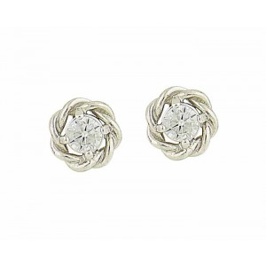Glitz Braid Silver Cubic Zirconia Stud Earrings
