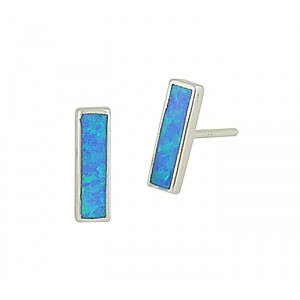 Blue Opal Bar Silver Stud Earrings