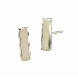 White Opal Bar Silver Stud Earrings