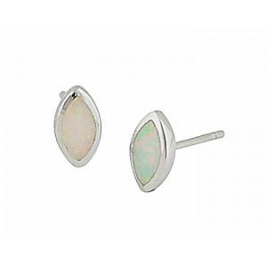 Marquise White Opal Stud Earrings