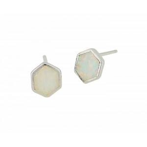 Hexagon White Opal Silver Studs