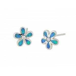 Flower Blue Opal Silver Studs