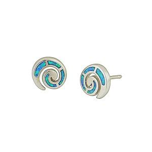 Spiral Blue Opal Stud Earrings