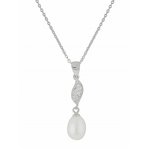 Single Pearl and CZ Silver Necklace