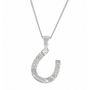 Sparkling Silver Horseshoe Necklace