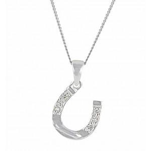 Sparkling Silver Horseshoe Necklace