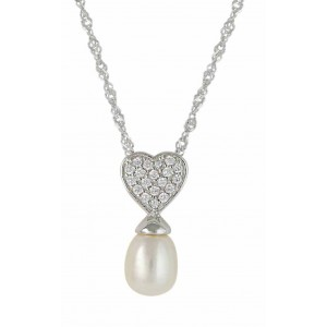 Freshwater Pearl and Heart Pendant Necklace