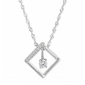 Square Pendant Silver Necklace
