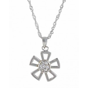 Five Petals Flower Silver Pendant
