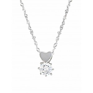Heart and Cubic Zirconia Pendant Necklace