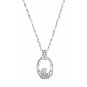 Oval and Cubic Zirconia Pendant Necklace