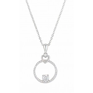 Heart and Circle Cubic Zirconia Pendant