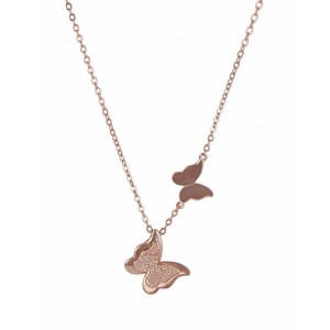 Sterling Silver Rose Gold Butterfly Necklace